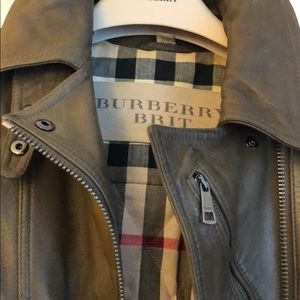 Burberry brown leather moto jacket size US 2